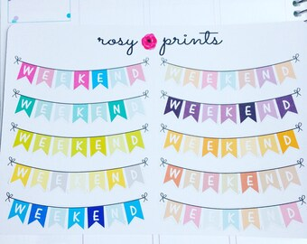 10 Weekend Bunting Stickers - Perfect for Erin Condren Life Planners / Journals / Stickers