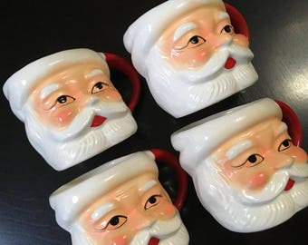 Vintage 1960s - Christmas SANTA FACE MUGS - Set of 4 Figural Mugs - Great Decor for the Holiday Season  - Made in Japan - Cute!