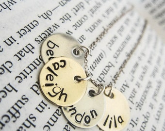 Hand Stamped Initial Letter Necklace with Four Discs - Perfect Personalized Gift for Moms, Mommy, Mummy, Mum