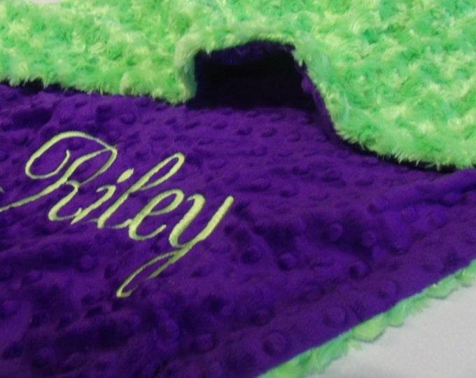 Purple and Green Rose Swirl Minky Baby Blanket