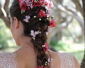 "Flowers hair garland ""Colleen"", bridal hair vine, wedding hair piece, bridal headpiece, flowers hair accessories  Boho brides bridesmaids"