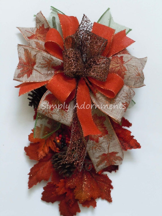 Autumn Lantern Bow Thanksgiving Wreath Bow Maple Leaves Wedding Pew Bow Burnt Orange Fall leaves Bow Fall Wreath Bow Fall Gifts Bow