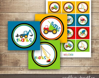 Construction Party Favor Tags / Boy's Birthday Favor Tags, Labels, Construction Party - INSTANT DOWNLOAD - Printable