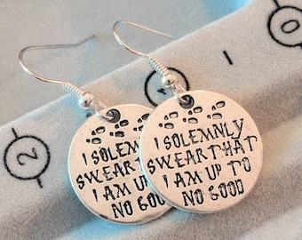 I Solemnly Swear Earrings - Harry Potter Earrings - Marauders Map Earrings -Moony Wormtail Padfoot Prongs