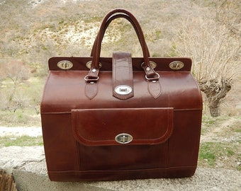Old bag, suitcase, leather bag, free shipping