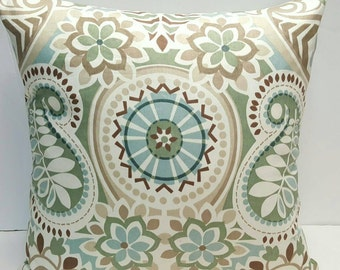 Waverly Paisley Prism Latte Handmade Indoor Pillow cover Teal Blue, Brown, Sage, Ivory with Solid Color Backing Fabric and Zipper