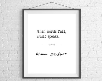 William Shakespeare Quote Print, Music Poster, Inspirational Wall Art, Music Gifts, Gifts for Musicians, Music Teacher Gift, Music Art,