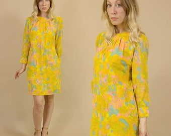 Vintage 1960s Soft Creamsicle, Pink & Turquoise Hippie Mod, Psychelelic Floral Mini, Shift Dress