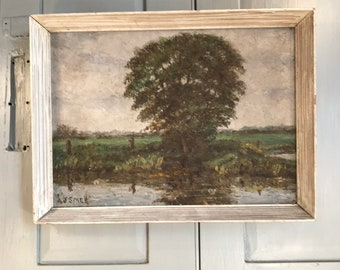 Vintage Impressionist study oil painting of a tree by a river by AJ Smee