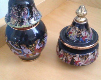 2 enamelled cream and perfume scent pots