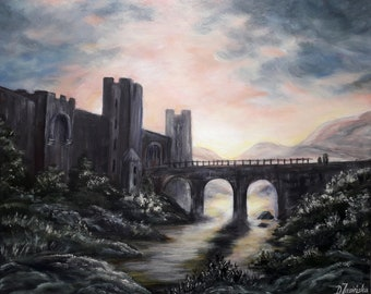 """Oil and Acryl Painting """"The Castle""""  22' x 18,5', home decor, gift for, handmade, Canvas Art,Painting,55 cm x 46 cm,"""