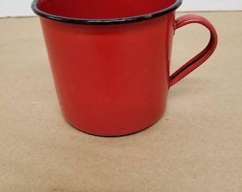 Vintage Red Enamelware Cup