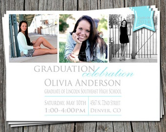Custom High School or College Graduation Announcement Party Open House Invitation   - You Print