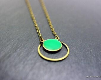 Graphic round pendant, pendant, jewelry, enamel, bronze