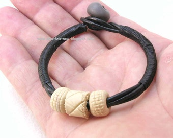 black leather cord bracelet with clay beads 3074