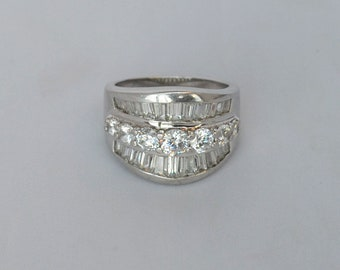 Wide Band Sterling Silver Ring wi Tapered Row of Round Cut CZs Size 8