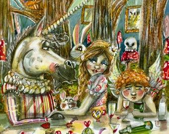 Love in Wonderland A3 print