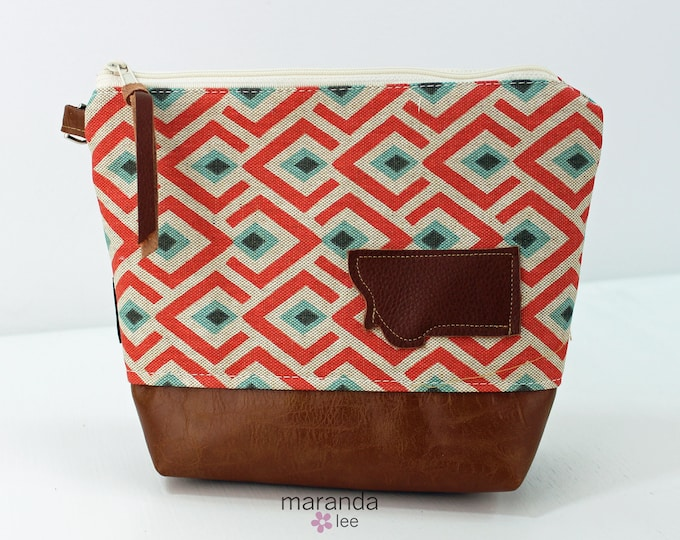 AVA Clutch Medium - On Point Coral with Montana Patch with PU Leather READY to SHIp