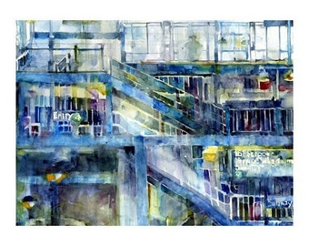 New York Art  Print - 161 Street, Subway, Bronx, NY  Watercolor - 11 x 14