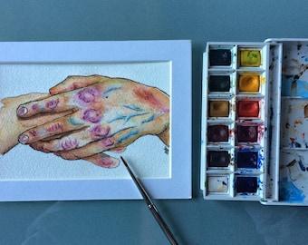 Original Art -Watercolor Hands