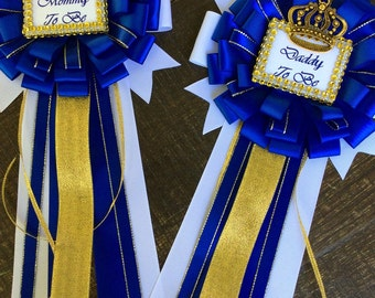 Royal Blue Set Little Prince Baby Shower Mommy To Be Pin And Daddy To Be Pin