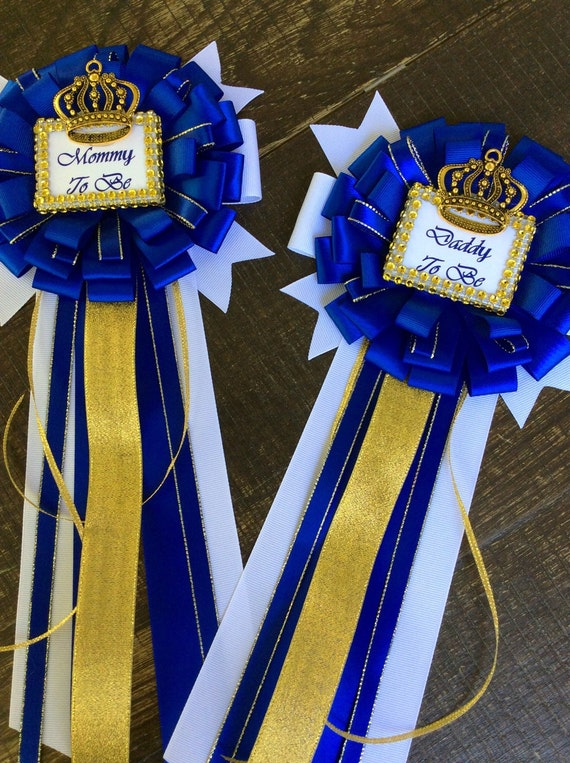 Royal Blue Set Little Prince Baby Shower Mommy To Be Pin And Daddy To Be  Pin Royal Blue Baby Shower  Royal Prince Baby Shower  Blue And Gold