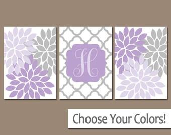 Purple Gray Nursery Wall Art, Flower Nursery Art, CANVAS or Prints, Lilac Gray, Custom Monogram Letter Initial, Flower Burst, Set of 3