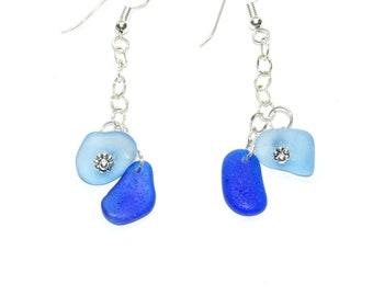 Sea Glass Earrings Dangle, Sterling Earrings, Sea Glass Earrings, Beach Wedding Earrings, Sterling Jewelry, Blue Glass Earrings