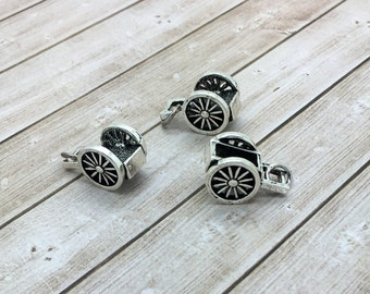 Pioneer Handcart Charm, hand cart pioneer trek, small silver handcart bracelet charm, wagon charm,  LDS charms, be charmed handcart BC01