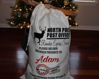 Personalized Kid's - North Pole Christmas Santa Sack - Reindeer - Christmas Gift - Toys - Present - Snowman