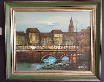 Mid Century Modern Oil Painting of Pont Saint Michel Paris - Signed Berle - Vintage Oil Painting