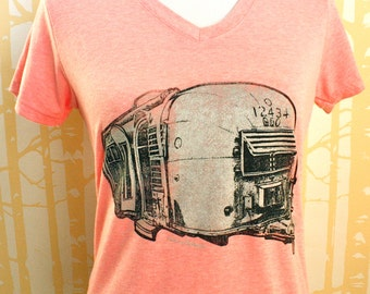 Ladies' Airstream Tee, choose your size and color in hand printed 100% recycled poly/cotton, milled and made in USA