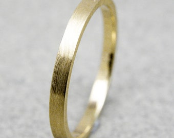 Yellow gold 2mm wide wedding ring brushed finish thick wedding band for women and men .FREE ENGRAVING.