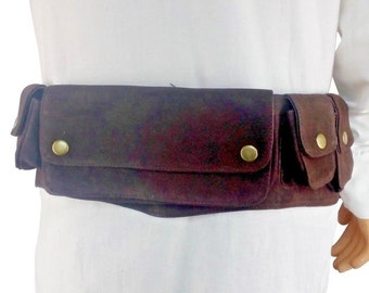 LARP Black and Brown Leather Scout Belt with built in pouch's