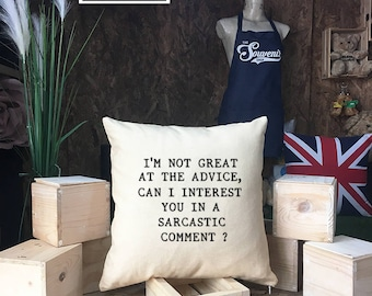 """Friends TV Show Chandler Bing """"Sarcastic Comment"""" Quote Pillow case, Gift for Dad, Grad Gift, I'm Not Great At Advice, Friends TV Show"""