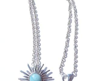 Sun Necklace, Sun Pendant, Blue Larimar Pendant Necklace, Larimar Pendant, Silver Larimar Sun Necklace, Wedding Necklace, Something Blue