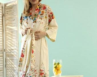Orchard Blossom Kimono Dressing Gown - Organic Cotton