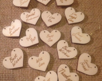 Little Heart Gift Tags - Mum Dad Friend Sister **Free Postage** uk only