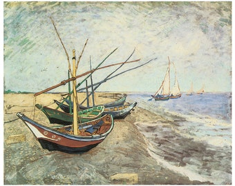 Hand-cut wooden jigsaw puzzle.  FISHING BOATS. Van Gogh. Impressionist puzzle. Impressionism. Wood, collectible. Bella Puzzles.