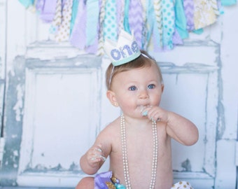 Mermaid Birthday Crown White and Gold Felt Crown Headband - Medium Little Blue Olive Cake Smash