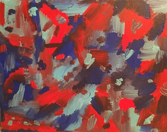 63 - Red and blues, 11x14