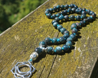 Natural Blue Apatite handknotted Mala / 54 beaded necklace / Svadhishthana Chakra pendant / hand knotted Hemp /yoga jewelry/ Boho handmade