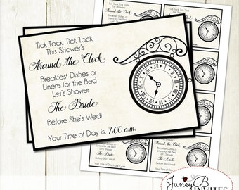 Around the Clock Wedding Shower Insert, Vintage Bridal Shower Invitation Insert,