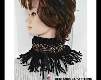 KNITTING PATTERN - Fringed Cowl - Cowl Knitting Pattern, Knit cowl pattern, #1002KC