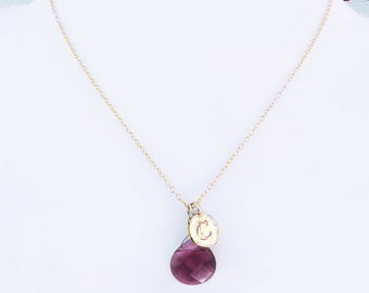 C meaningful jewelry for best friend gold initial letter necklace, c gold coin necklace with red stone for girlfriend engraved necklace gift