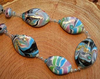 Blue, green & pink necklace Lamp Work Glass Beads, curved bead handmade artisan jewelry, lampwork art beads, SRAJD art glass accessory