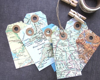 Map Tags, Travel Theme Wedding, Destination Wedding, Graduation, Shower, Birthday, Party Favor Tags, Gift Tags, Rustic, Set of 12