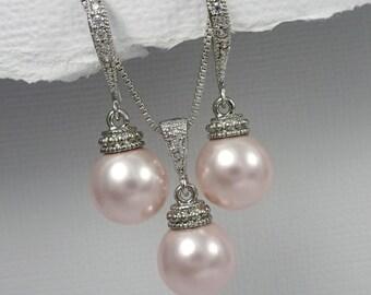 Light Pink Bridesmaid Jewelry Set, Swarovski Light Pink Pearl Wedding Jewelry Set, Blush Pink Bridal Jewelry Set, Mother of the Bride Gift