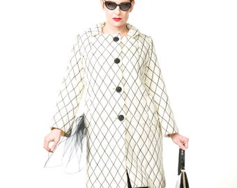 Mod 60s White with Black Diamond Quilted Coat  M L