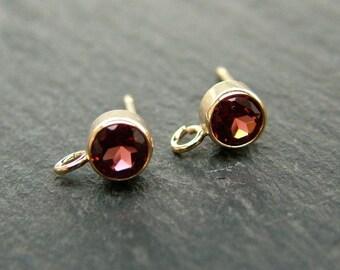 Gold Filled Garnet Ear Post ~ PAIR